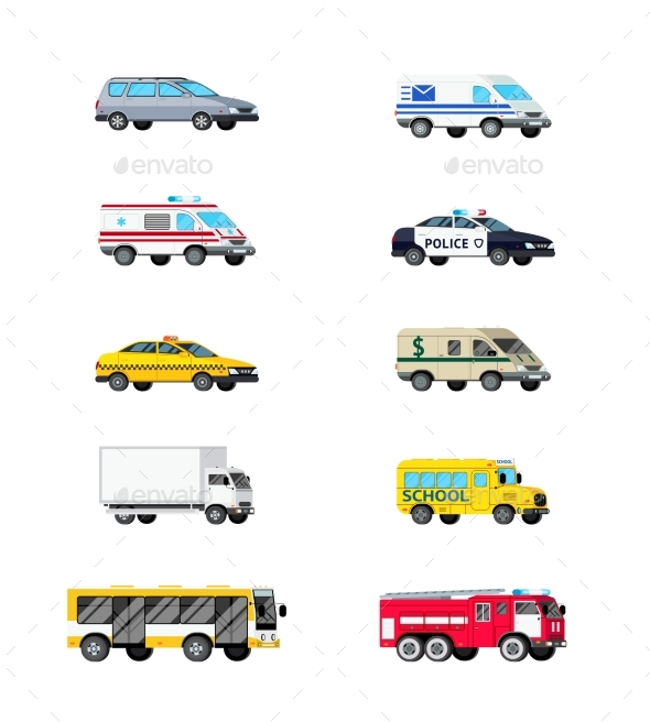 Motor Vehicles Icon Set - Man-made Objects Objects