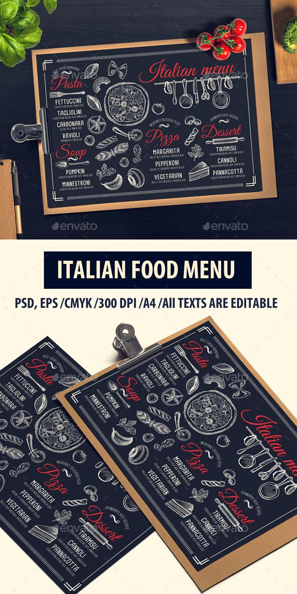 Italian Food Menu - Food Menus Print Templates