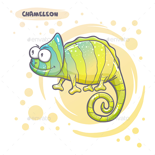 Drawn Cartoon Chameleon - Animals Characters
