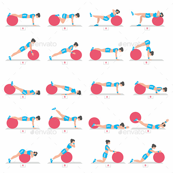 Exercises with a Ball for Fitness - Sports/Activity Conceptual