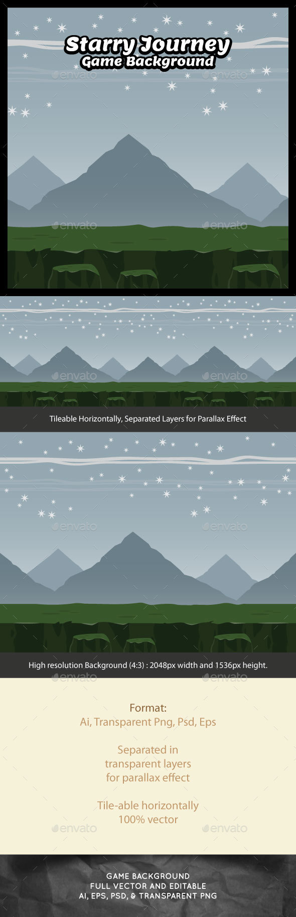 Starry Journey Game Background - Backgrounds Game Assets