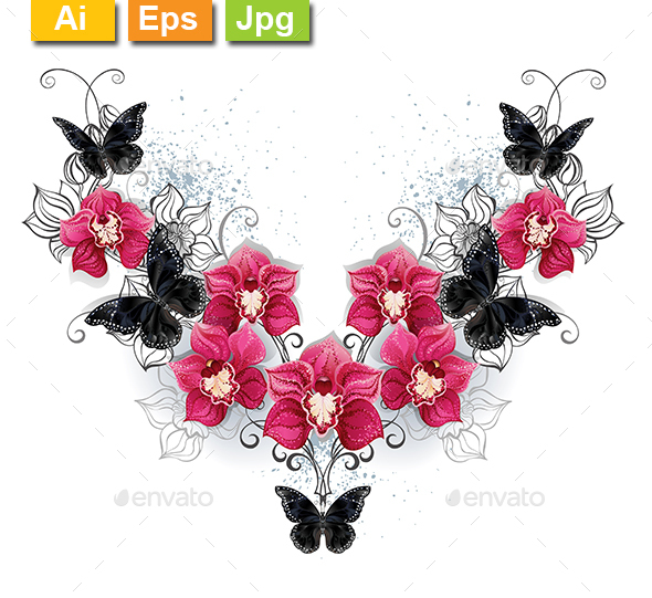 Symmetric Pattern of Orchids and Black Butterflies - Tattoos Vectors