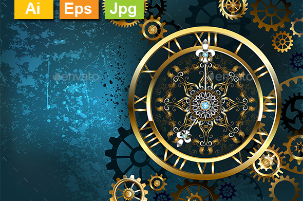 Golden Clock on Turquoise Background - Backgrounds Decorative