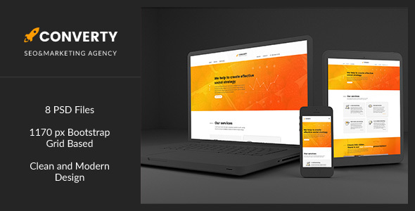 Converty — Eye-Catching and Creative SEO/Marketing Agency PSD Template