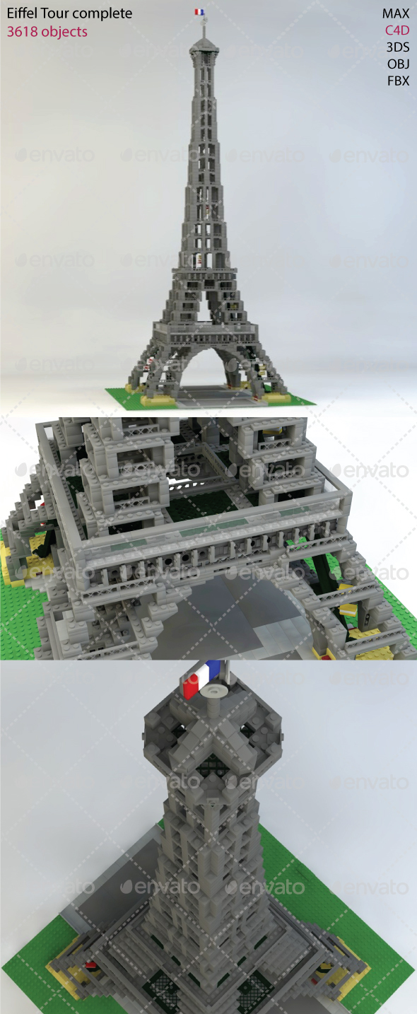 Tour Eiffel Bricks - 3DOcean Item for Sale