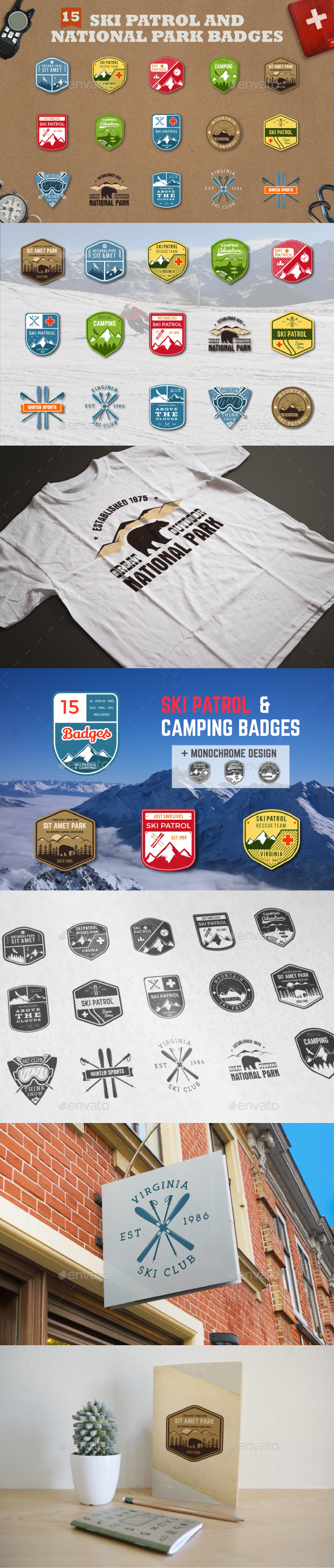 Mountain Ski Patrol & Camping Badges - Badges & Stickers Web Elements