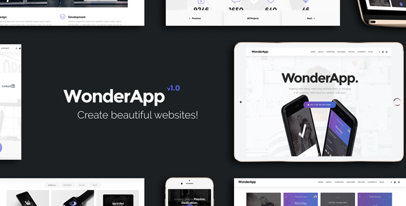 WonderApp – Multipurpose Responsive Landing Page in WordPress with 20+ Elements