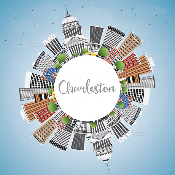 Charleston Skyline with Gray Buildings - Buildings Objects