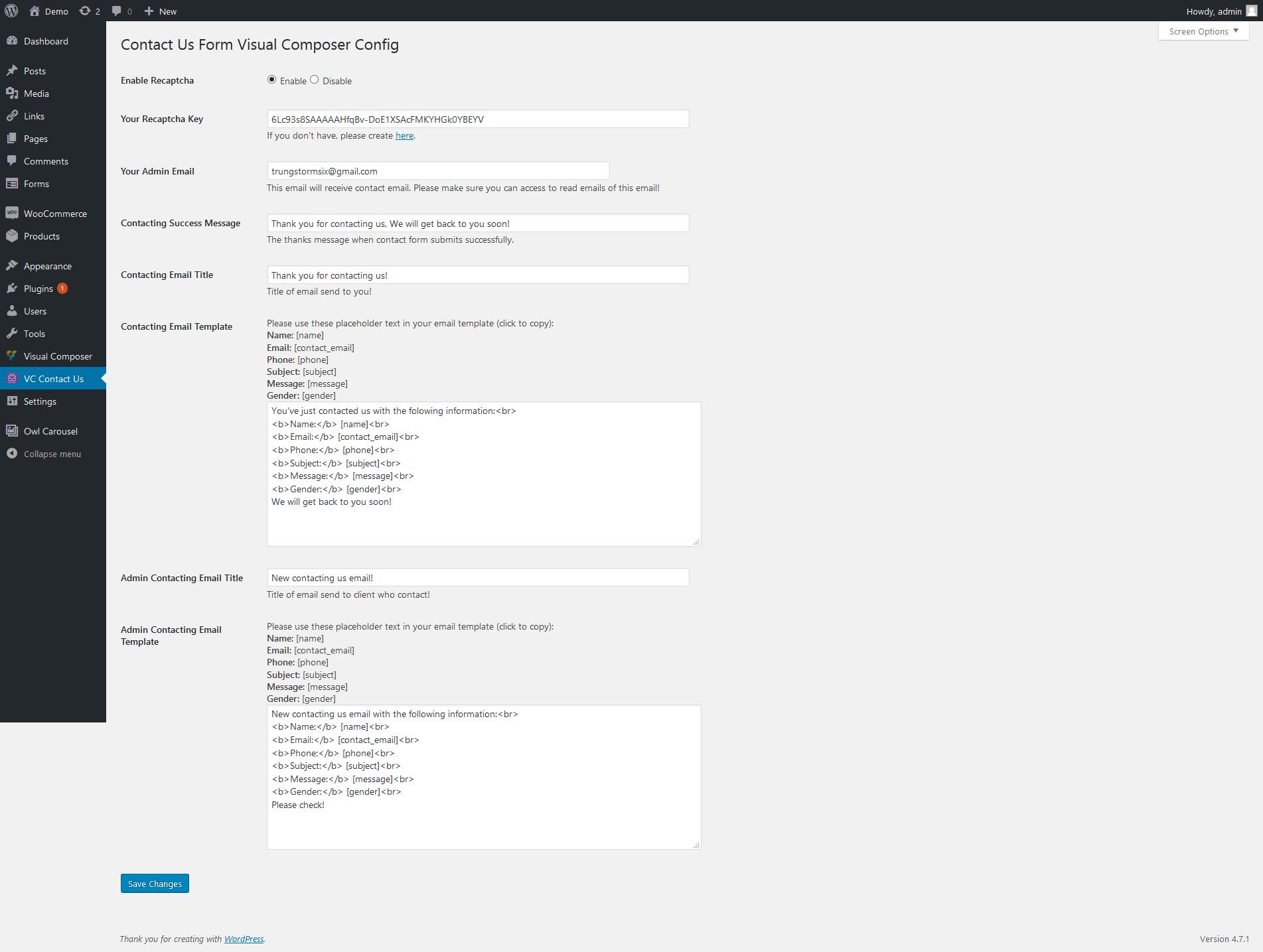 Visual Composer - Ajax Contact Us Form (MySQL, send Mail) by ...