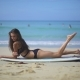 Woman In Swimsuit With Surfboard - VideoHive Item for Sale