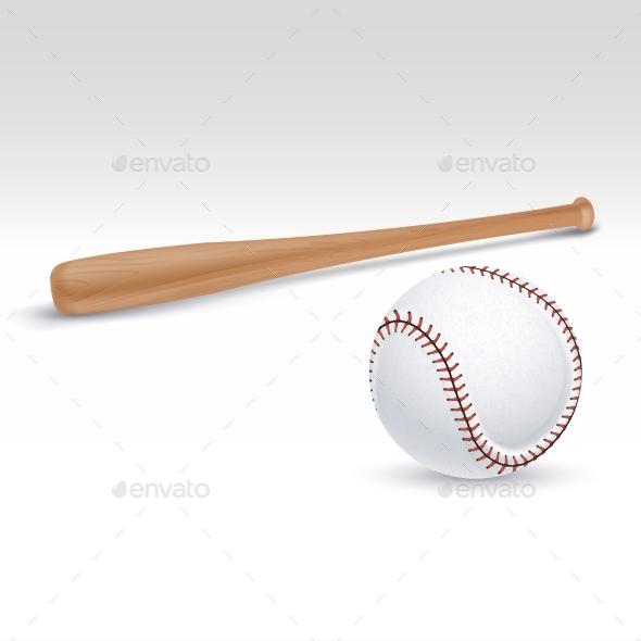 Baseball Bat and Ball Vector Illustration - Sports/Activity Conceptual