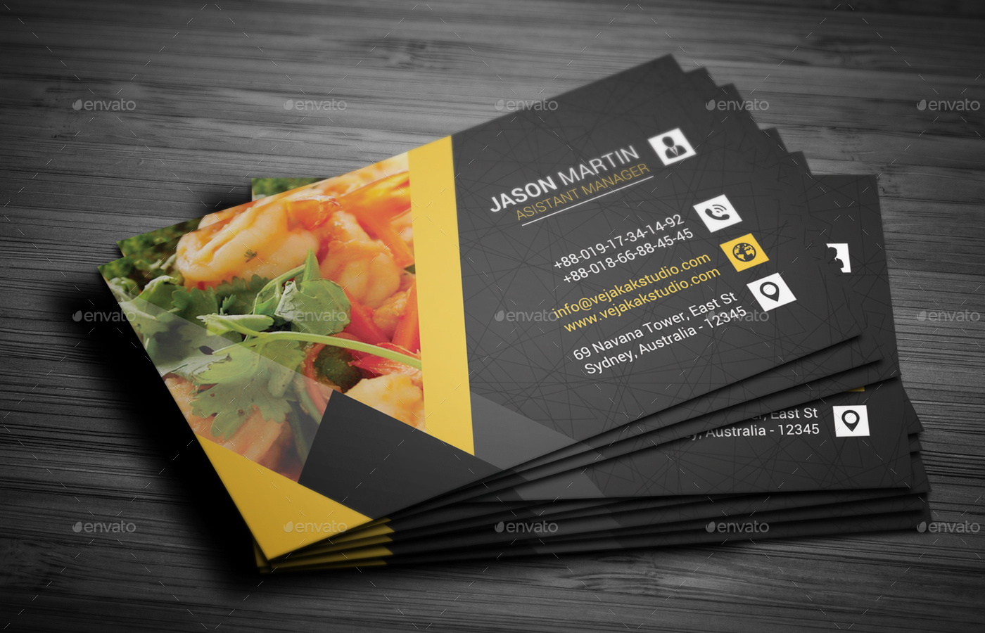restaurant business card by vejakakstudio graphicriver. Black Bedroom Furniture Sets. Home Design Ideas