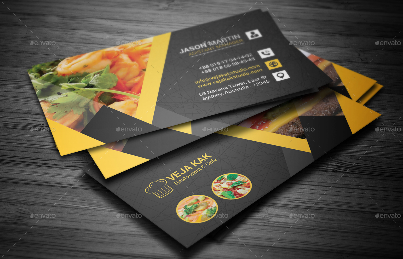 restaurant business card by vejakakstudio graphicriver
