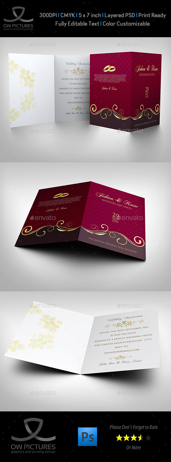 Wedding Invitation Card Template Vol 16 by OW