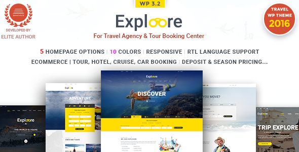 EXPLOORE | Travel WordPress Theme (Travel, Exploration, Booking, Tour, Hotel)