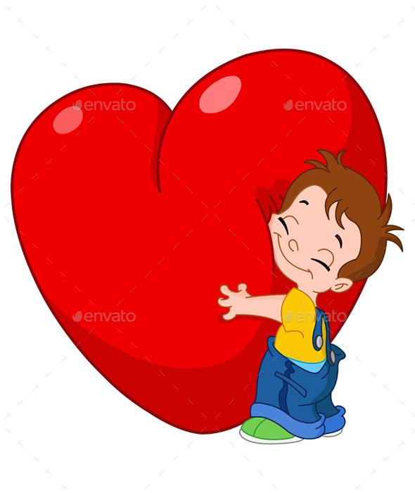 Kid Hugs Heart - Valentines Seasons/Holidays