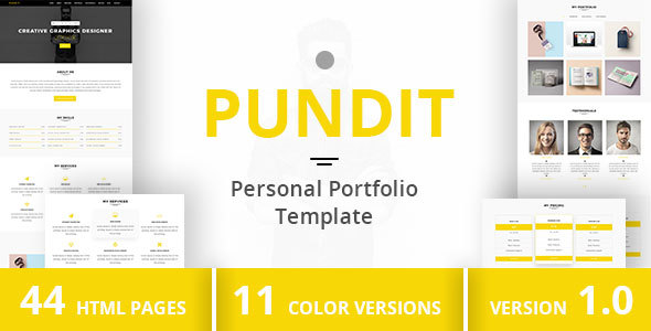 PUNDIT - Personal Portfolio Template - Virtual Business Card Personal