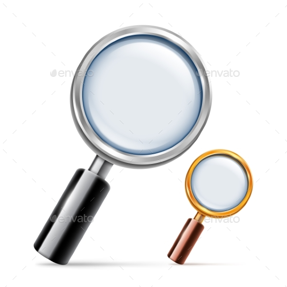 Silver and Golden Magnifying Glass - Objects Vectors