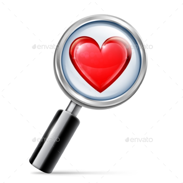 Magnifying Glass and Heart - Valentines Seasons/Holidays