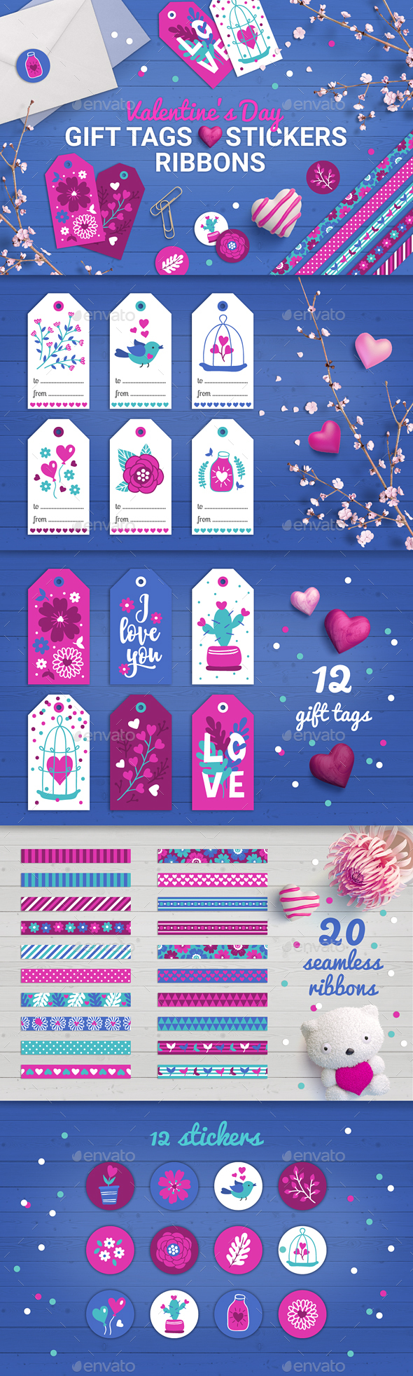 Valentine Gift Tags, Stickers, Tapes - Valentines Seasons/Holidays