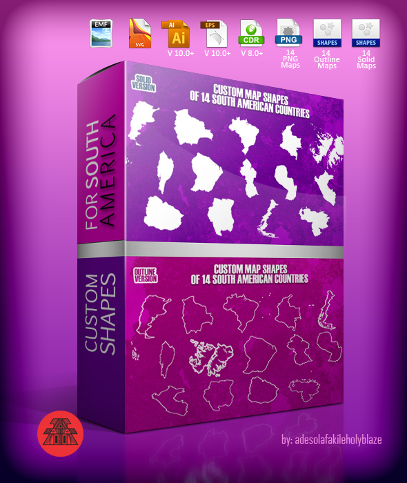 14 South American Countries Custom Map Shapes