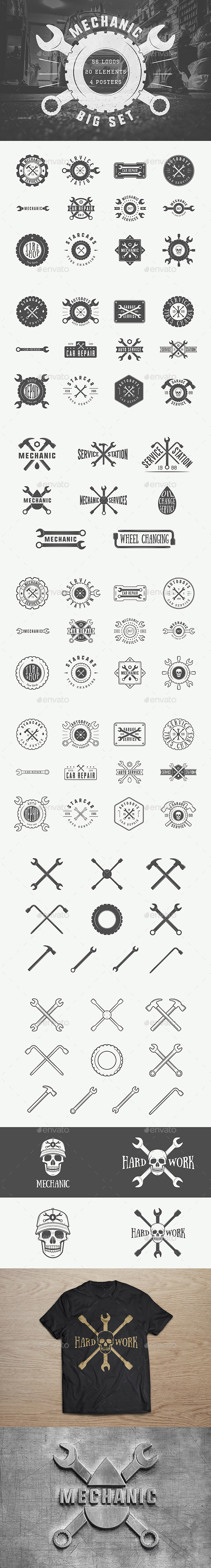 Mechanic Vintage Emblems - Badges & Stickers Web Elements