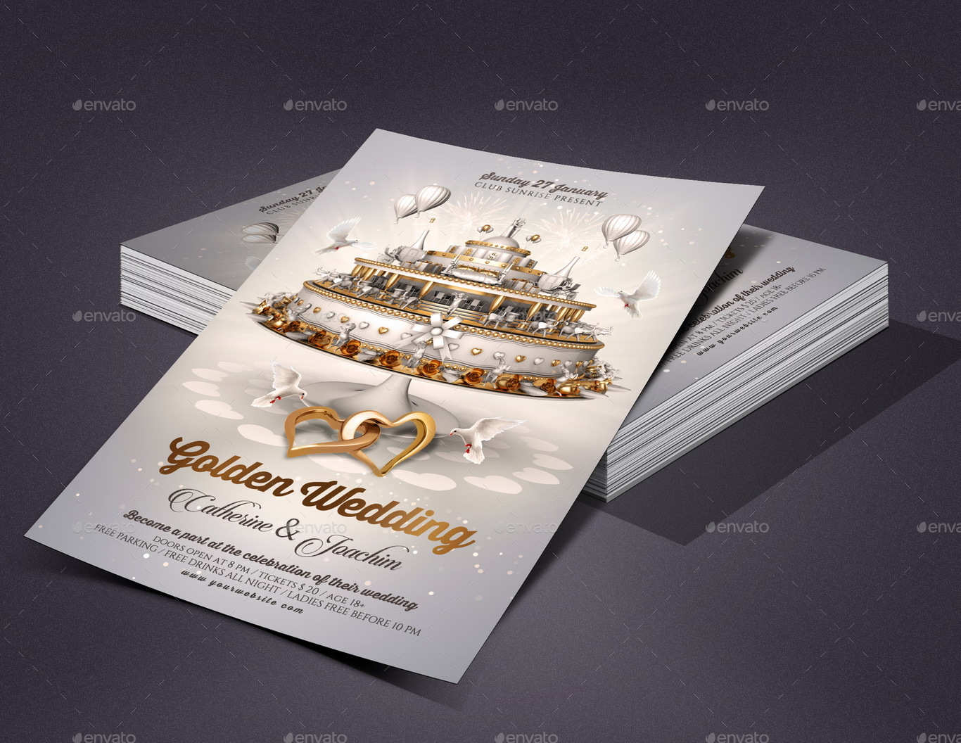 wedding invitation flyer template by rembassio graphicriver. Black Bedroom Furniture Sets. Home Design Ideas