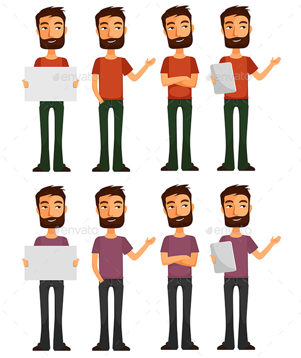 Flat Man Character for Business - People Characters