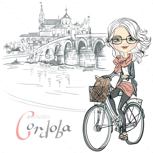 Girl Rides a Bicycle in Cordoba - People Characters