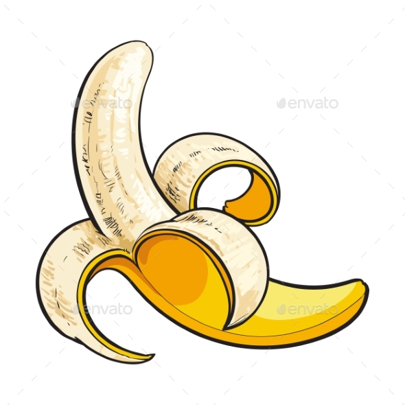 Peeled Ripe Banana - Food Objects