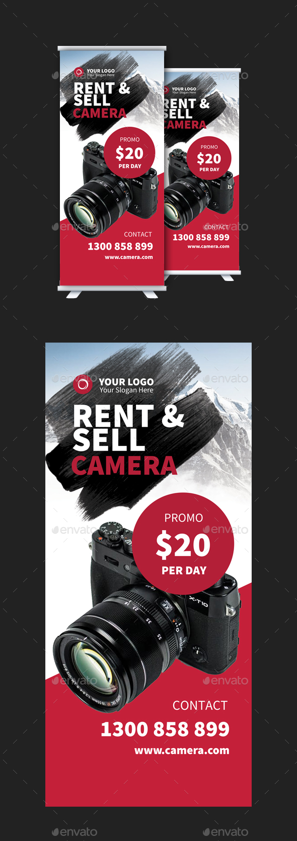 Rent & Sell Camera Stand Banner Template - Signage Print Templates