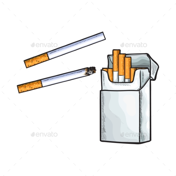 Unlabeled Standing Open Pack of Cigarettes - Health/Medicine Conceptual