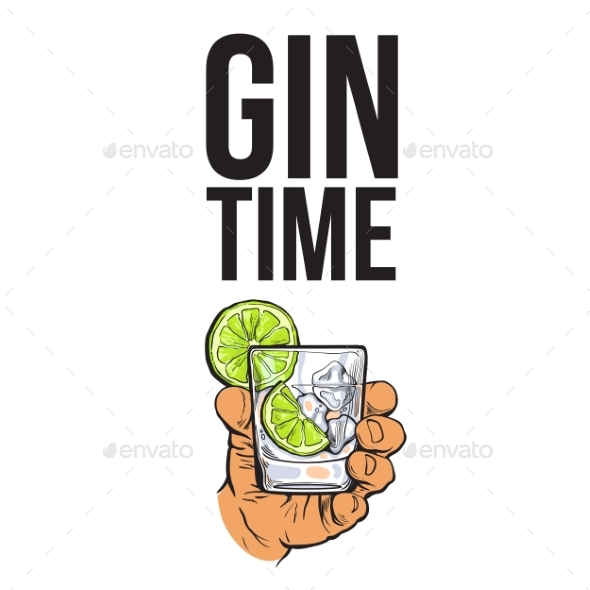 Hand Holding Glass of Gin - Decorative Symbols Decorative