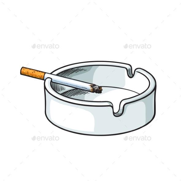 White Clean and Empty Ceramic Ashtray - Health/Medicine Conceptual