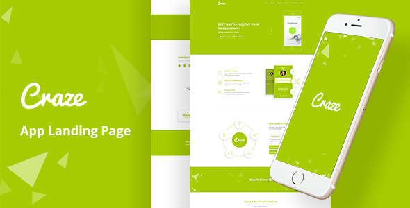 Craze - App Landing PSD Template - Software Technology