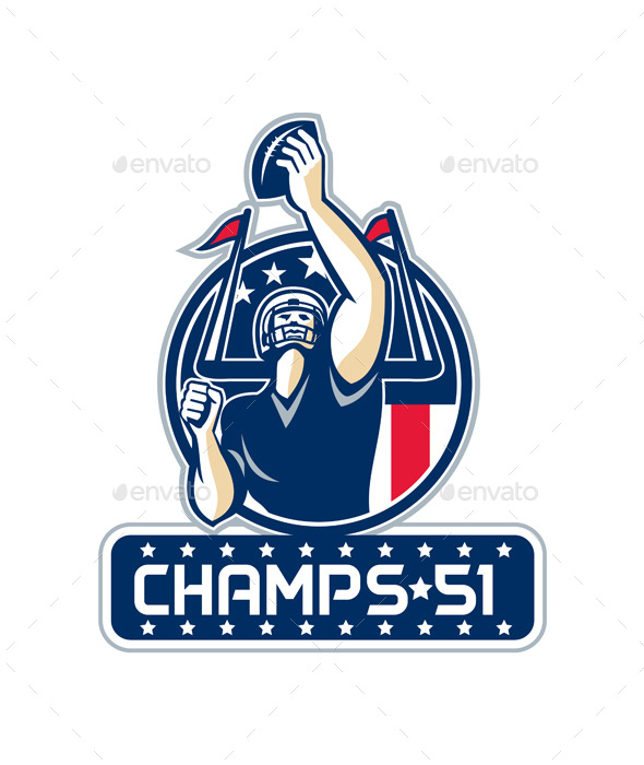 Football Champs 51 New England Retro - Sports/Activity Conceptual
