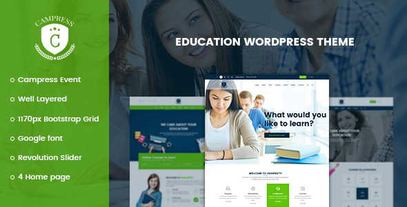 Campress - Responsive Education, Courses and Events WordPress Theme - Education WordPress