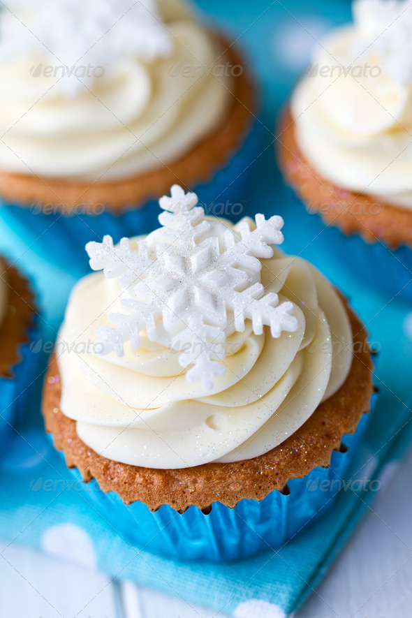 Snowflake cupcakes - Stock Photo - Images