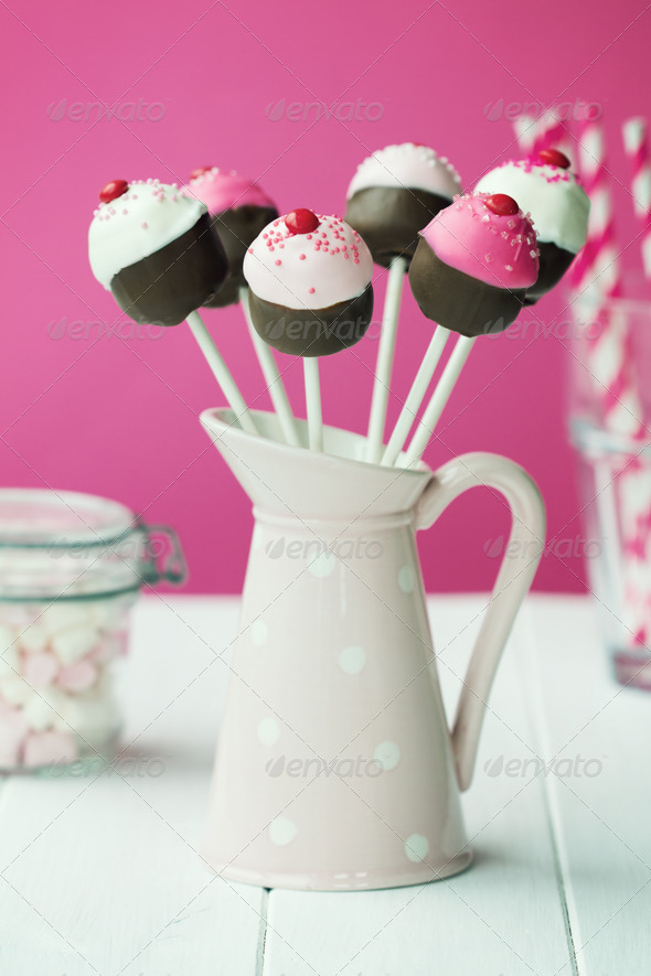 Cupcake cake pops - Stock Photo - Images