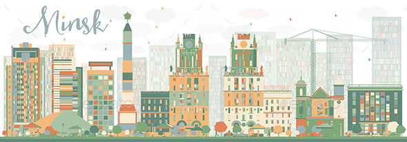 Abstract Minsk Skyline with Color Buildings - Buildings Objects