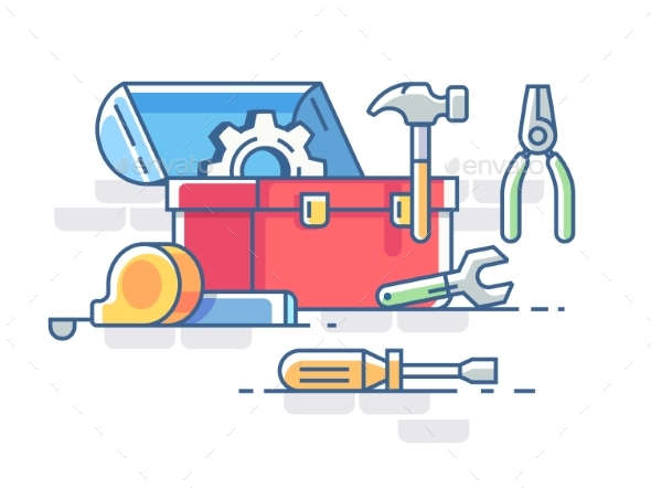 Open Box with Tools - Man-made Objects Objects