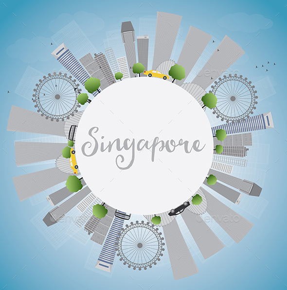 Singapore Skyline with Gray Landmarks - Buildings Objects