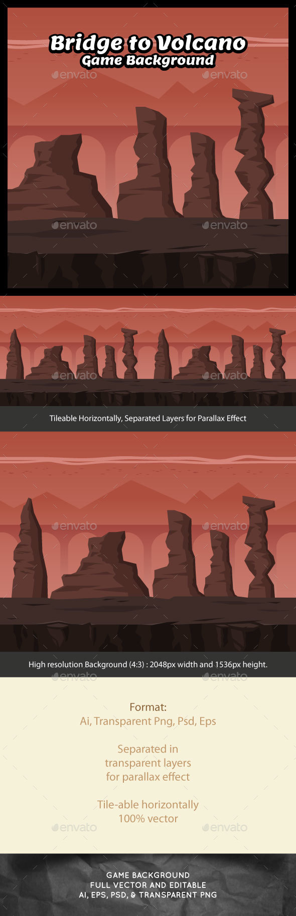 Bridge to Volcano Game Background - Backgrounds Game Assets
