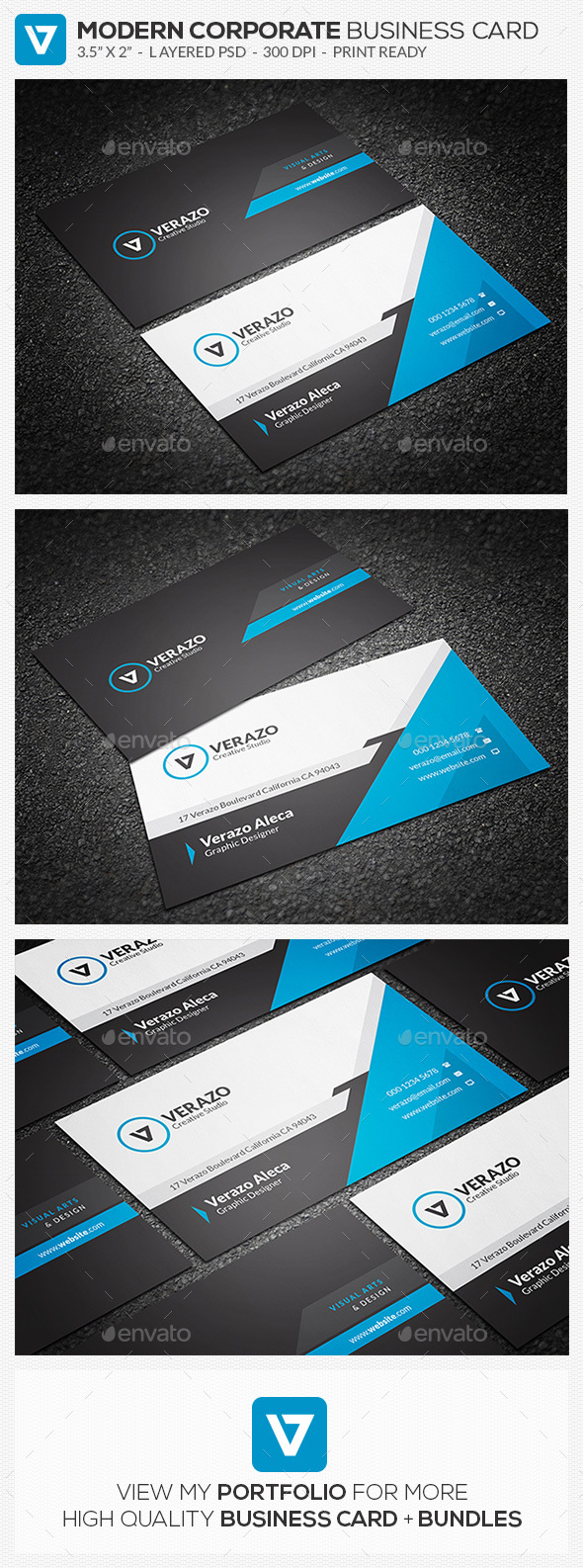 Modern blue corporate business card template by verazo graphicriver modern blue corporate business card template corporate business cards reheart Image collections