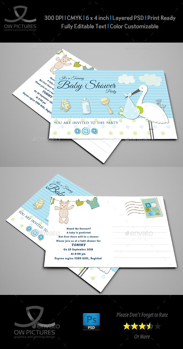 Baby Shower Party Postcard Template - Greeting Cards Cards & Invites