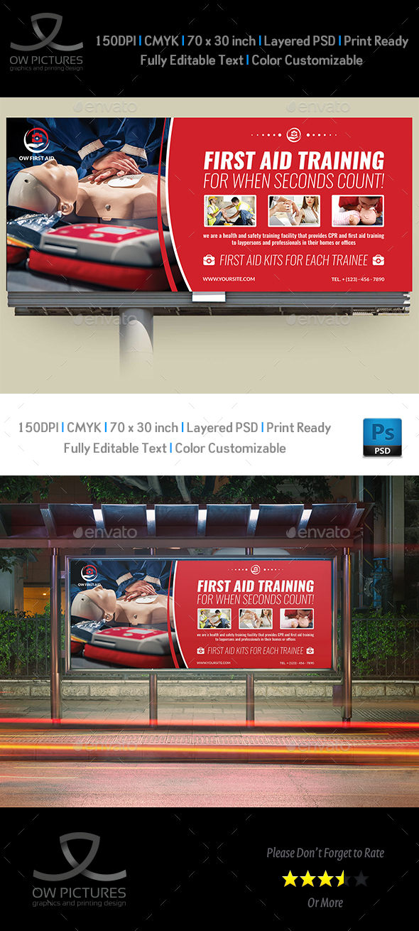 First Aid Billboard Template - Signage Print Templates