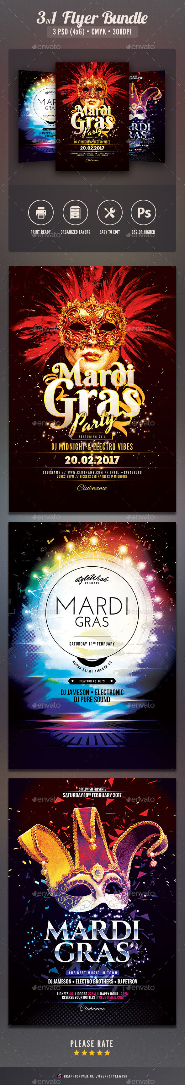 Mardi Gras Flyer Bundle Vol.02 - Clubs & Parties Events