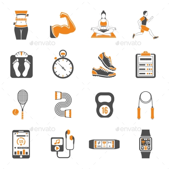 Fitness and Gym Icons Set - Sports/Activity Conceptual