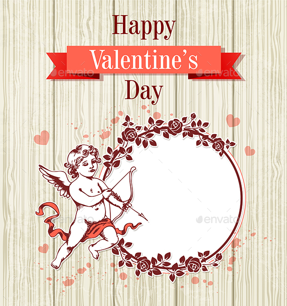Cupid and Round Frame of Roses - Valentines Seasons/Holidays