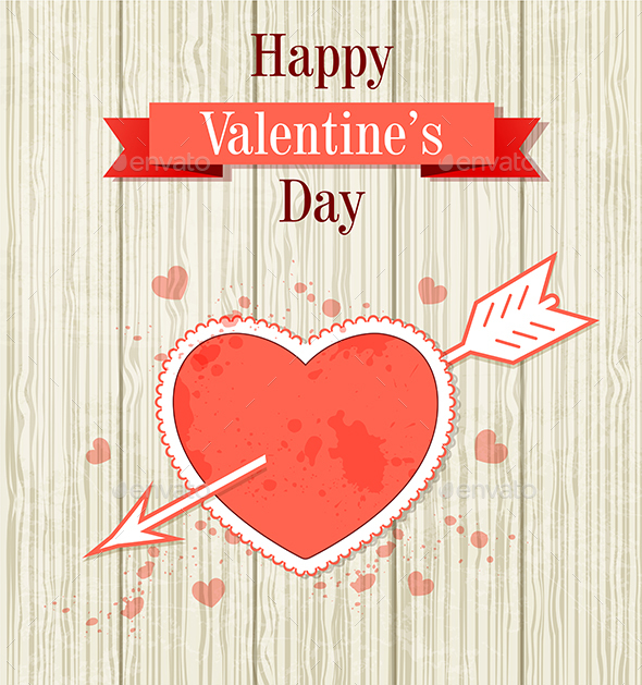Valentine Card with Red Heart - Valentines Seasons/Holidays